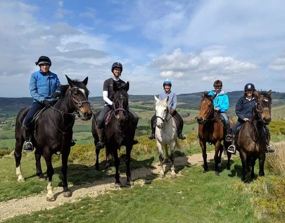 A group of riders enjoying an outing from Bilsdale Riding Centre.