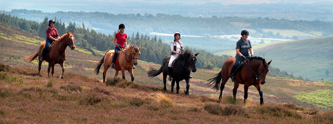 Riders crossing the moors in Yorkshire